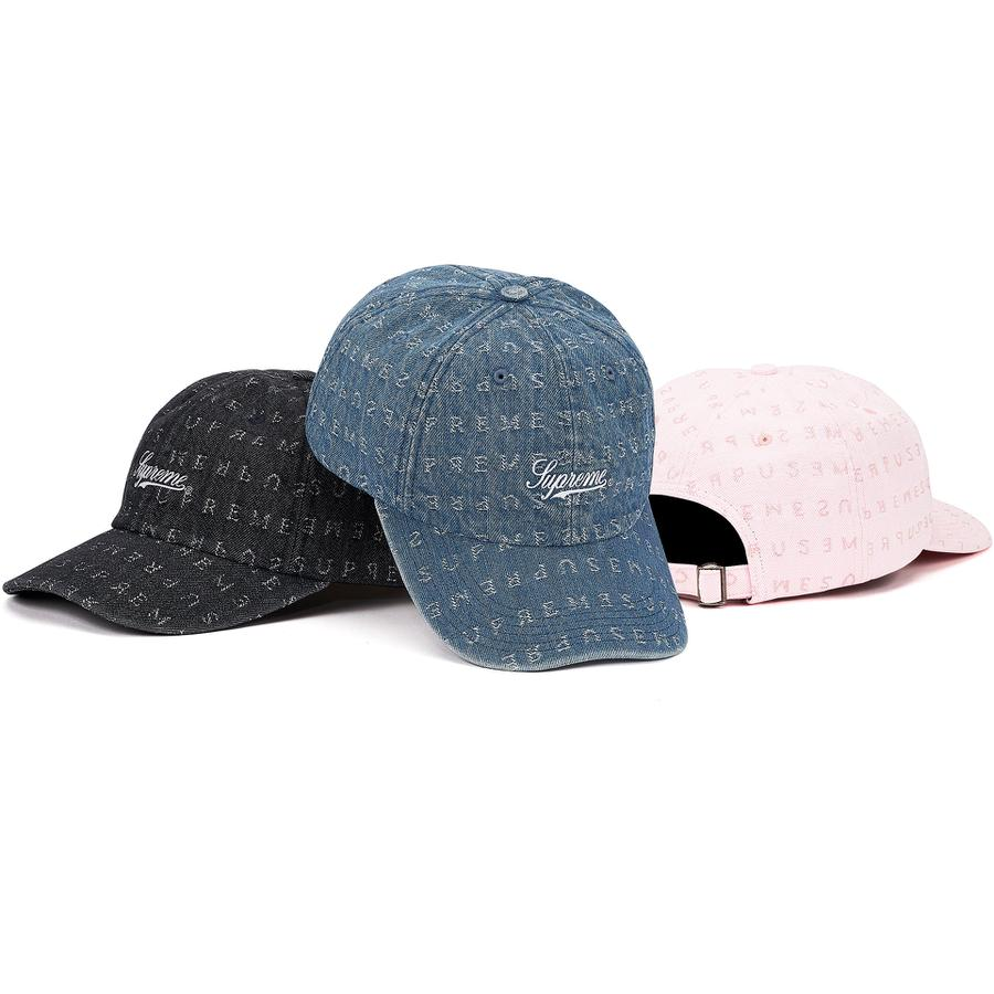 Jacquard Logos Denim 6-Panel - All cotton denim 6-Panel hat with jacquard logo pattern and self strap closure. Embroidered logo on front.