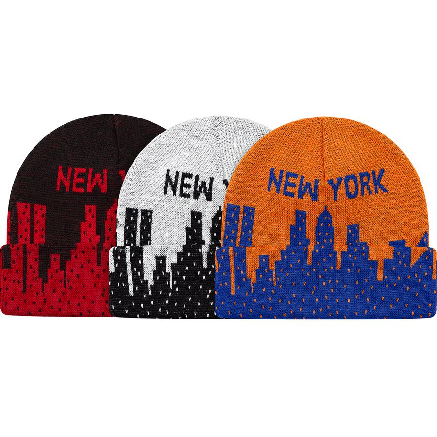 New York Beanie - Acrylic cuffed beanie with knit graphic and logo on crown and cuff.