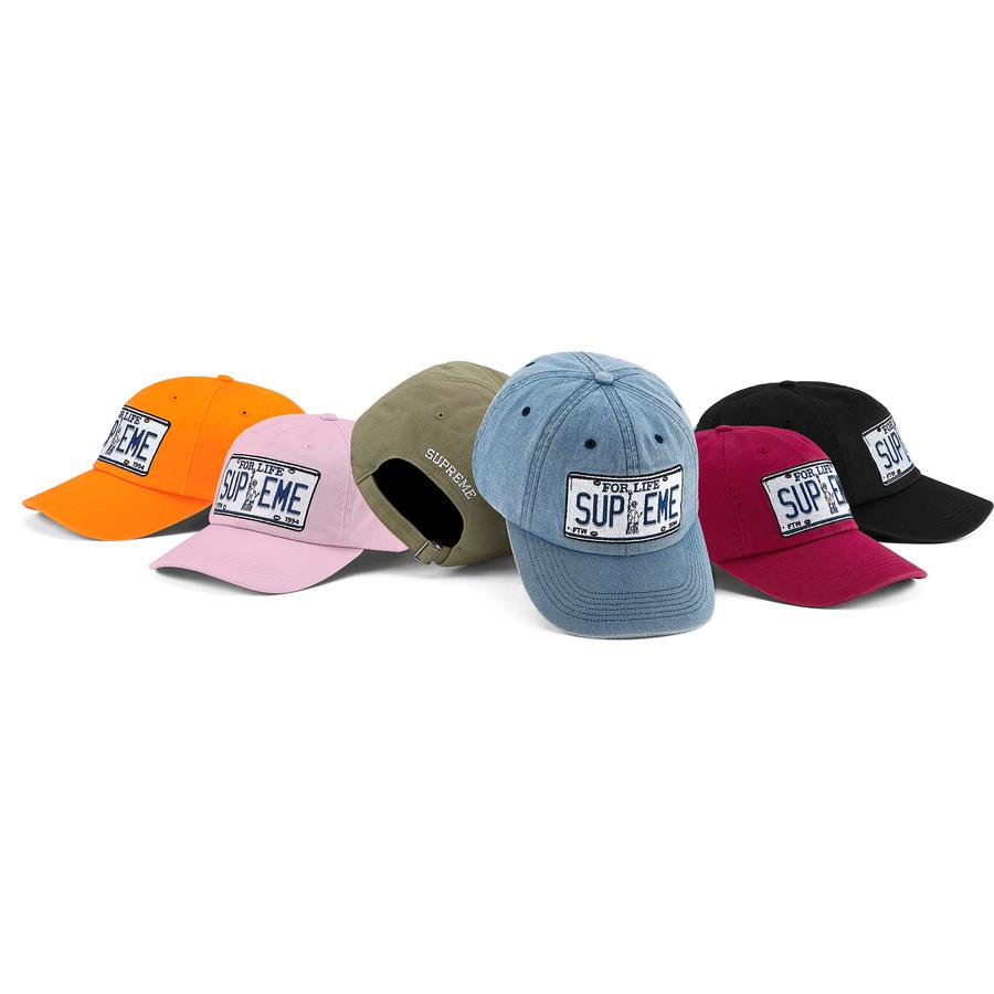 License Plate 6-Panel - All cotton chino twill 6-Panel hat with self strap closure. Embroidered logos on front and back.