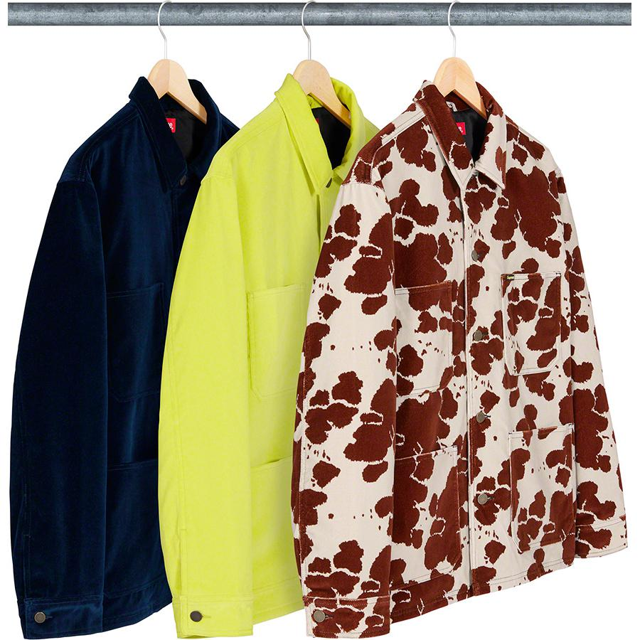Velvet Chore Coat - All cotton velvet with satin lining and button front closure. Patch pockets at lower front and chest with interior chest pocket. Button adjuster at cuffs.