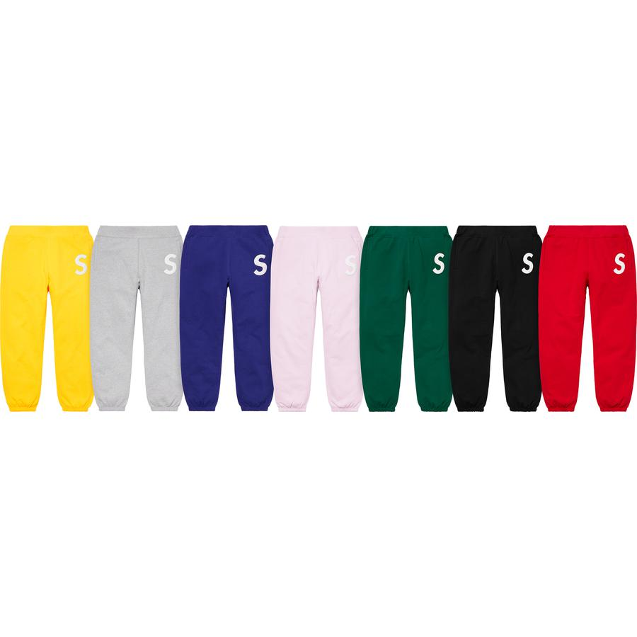 S Logo Sweatpant - Cotton fleece with welt hand pockets and single back patch pocket. Elastic cuffs and knit rib waistband with interior drawcord. Quilted leather appliqué logo at thigh.
