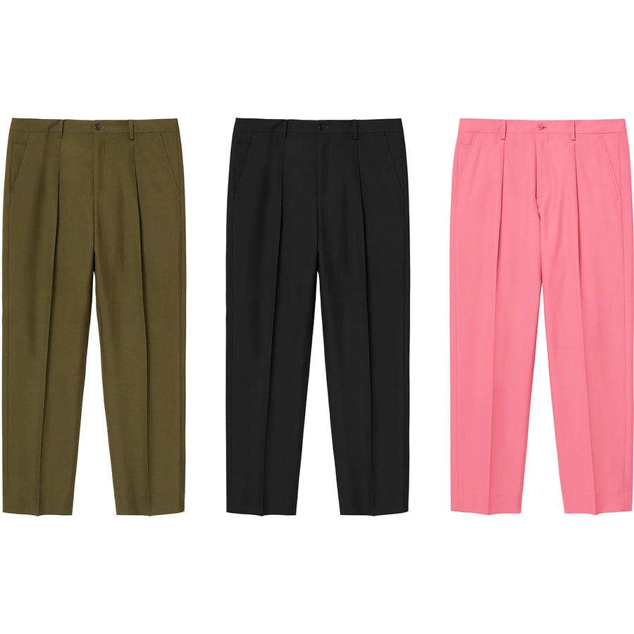 Pleated Trouser - Wool blend half-lined trousers with cupro lining. Slanted front pockets with back welt pockets. Button closure with zip fly and interior waistband curtain with woven logo taping.