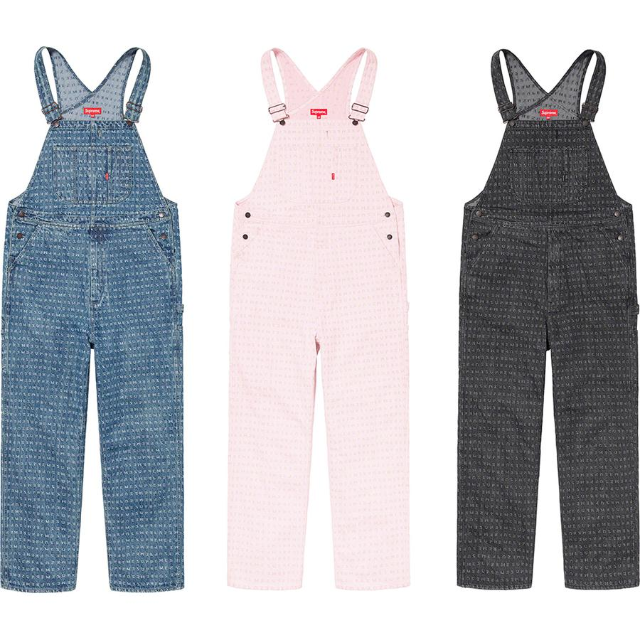 Jacquard Logos Denim Overalls - All cotton 14 oz. denim with jacquard logo pattern. Slanted front hand pockets and patch pockets at chest and seat. Utility style with zip fly, utility pockets and hammer loop at left leg.