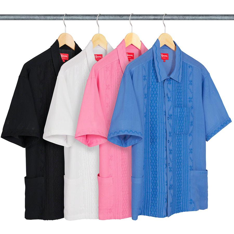 Embroidered S/S Shirt - All cotton with embroidered pattern. Patch pockets at lower front and chest with embroidered logo on lower left pocket.