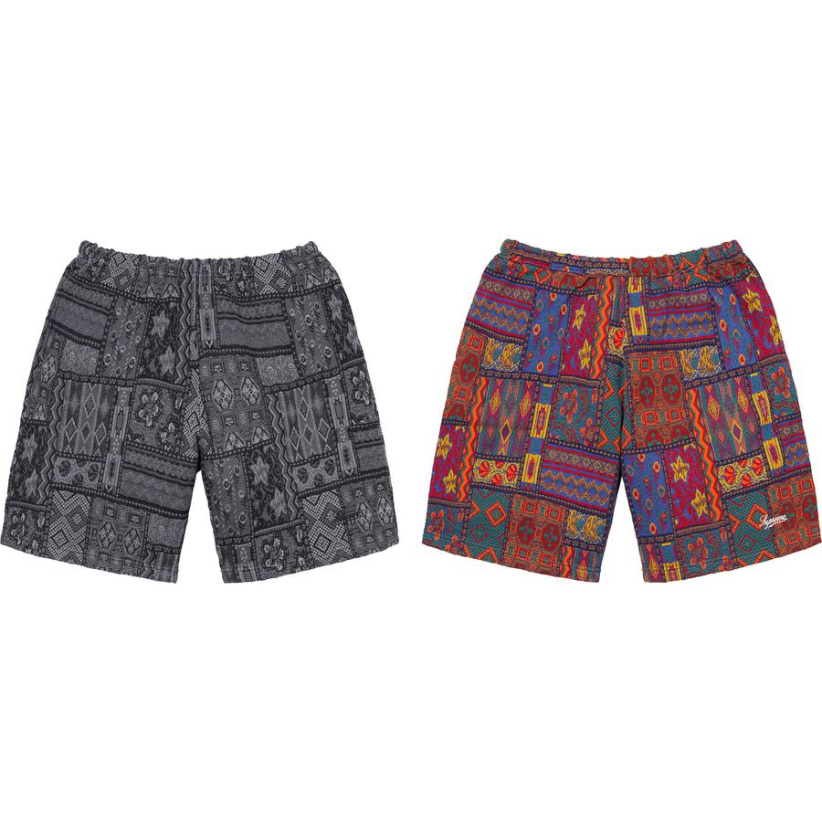 Patchwork Knit Short - All cotton with knit pattern. On seam hand pockets and single back patch pocket. Elastic waistband with interior drawcord. Embroidered logo on lower leg.