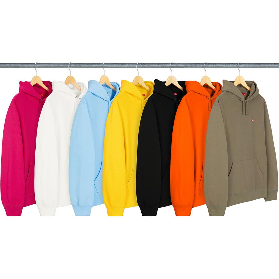 Small Box Hooded Sweatshirt - Cotton fleece with rib gussets, pouch pocket and embroidered logo patch on chest.