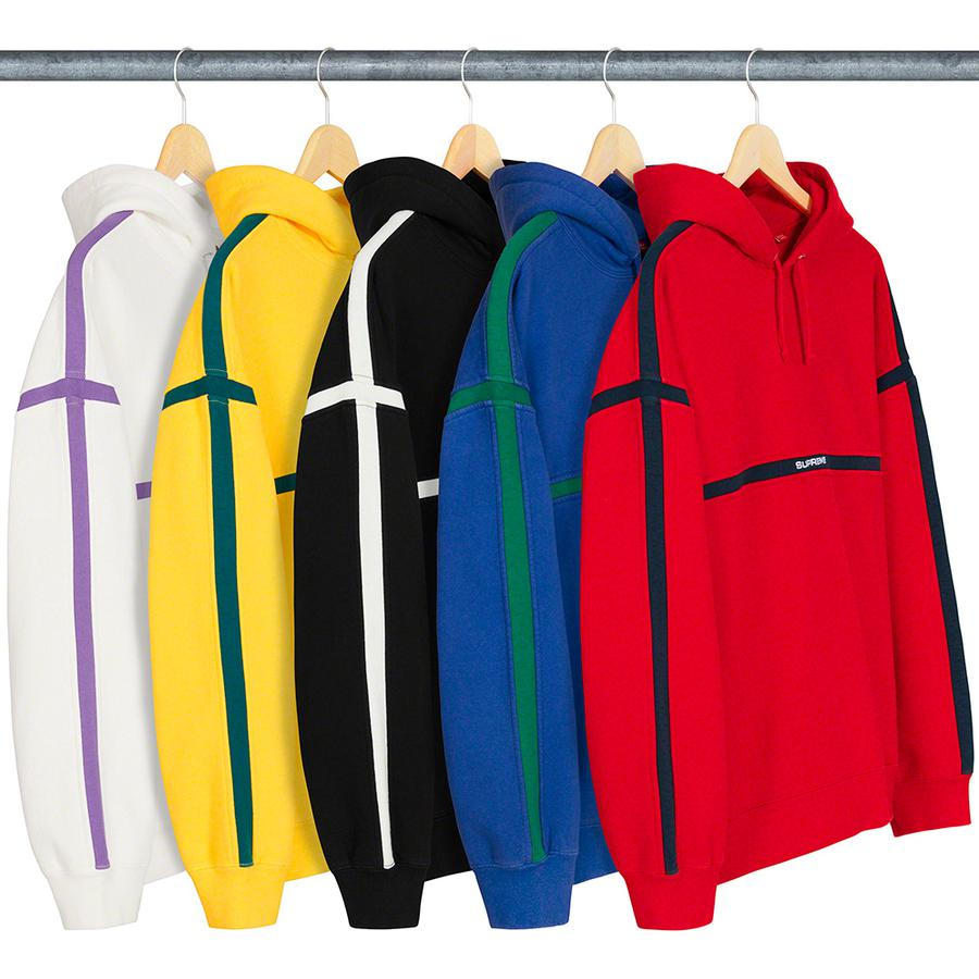 Warm Up Hooded Sweatshirt - Cotton fleece with on seam hand pockets and inset contrast stripes. Embroidered logo on chest.