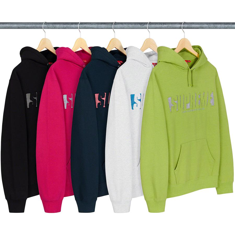 Reflective Cutout Hooded Sweatshirt - Cotton fleece with pouch pocket. Reflective inset appliqué and embroidered logos on chest.
