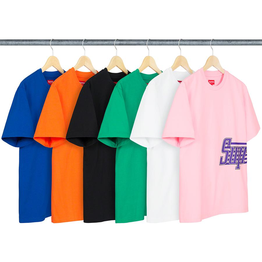 Side Logo S/S Top - All cotton jersey crewneck with printed logo at side.
