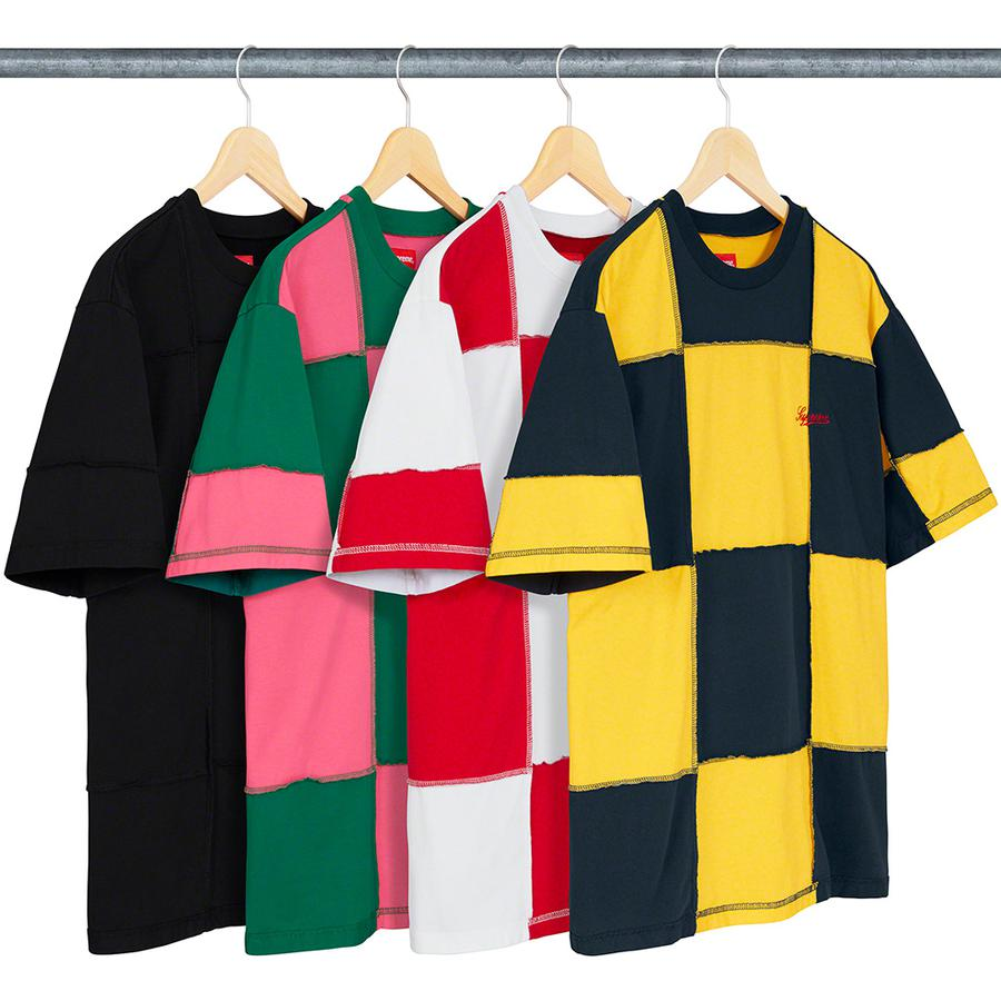 Patchwork S/S Top - All cotton jersey crewneck with patchwork pattern and embroidered logo on chest.