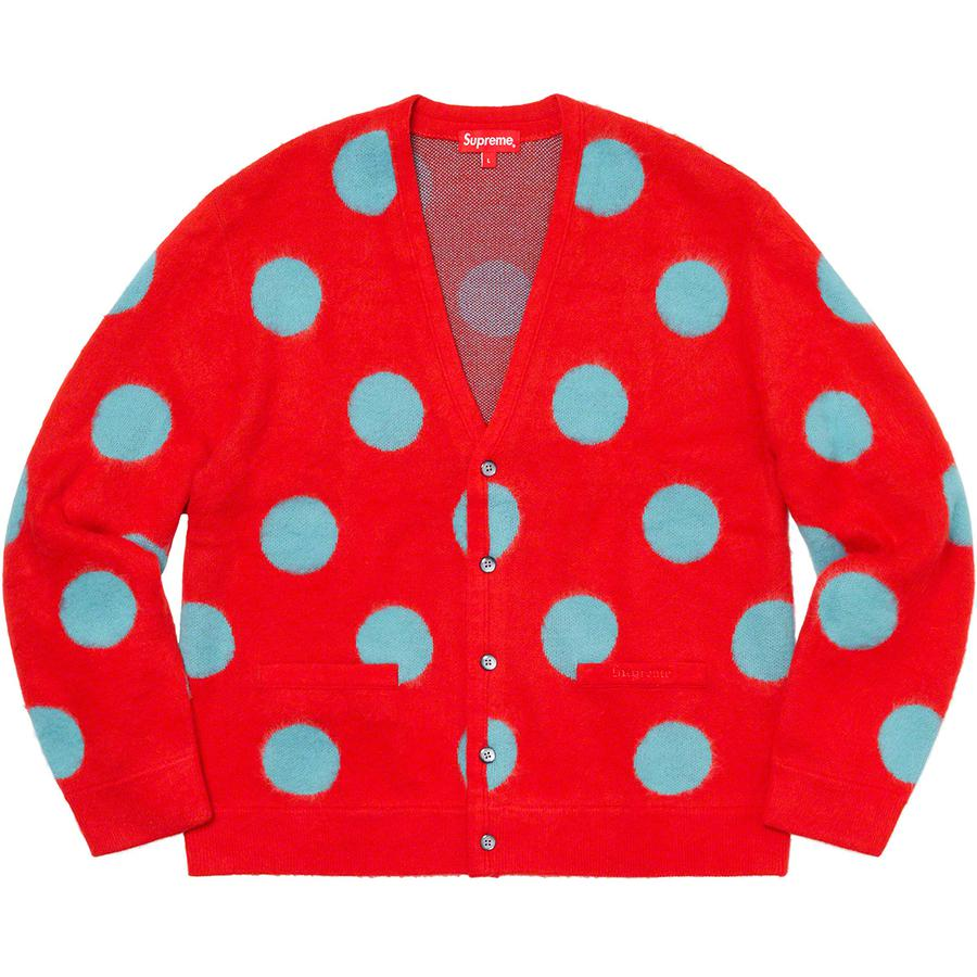 Brushed Polka Dot Cardigan - Brushed acrylic with button front closure and hand pockets at lower front. Embroidered logo on left pocket.