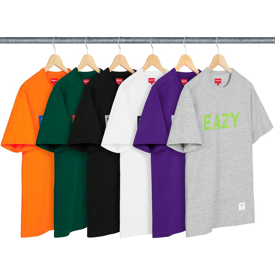 Eazy S/S Top - All cotton slub jersey crewneck with printed graphic on chest and athletic label at lower front.