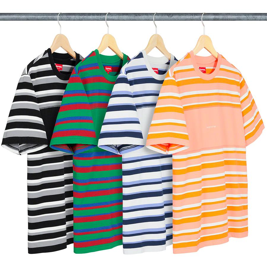 Blocked Stripe S/S Top - All cotton crewneck with embroidered logo on chest.